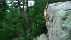 Rock Climbing Photo: The committing last throw to the lip on Insomnia o...