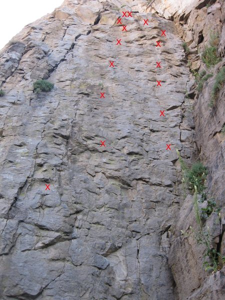 Rock Climbing Photo: Incorncentric 5.10c is the right 8 bolt route.