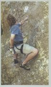 Rock Climbing Photo: Preparing for a mono crux move on some route at Mi...
