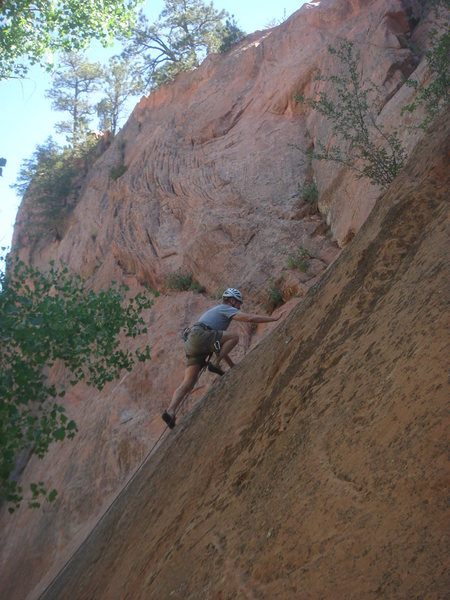 Tim Whalen on the runout slab to the first bolt.