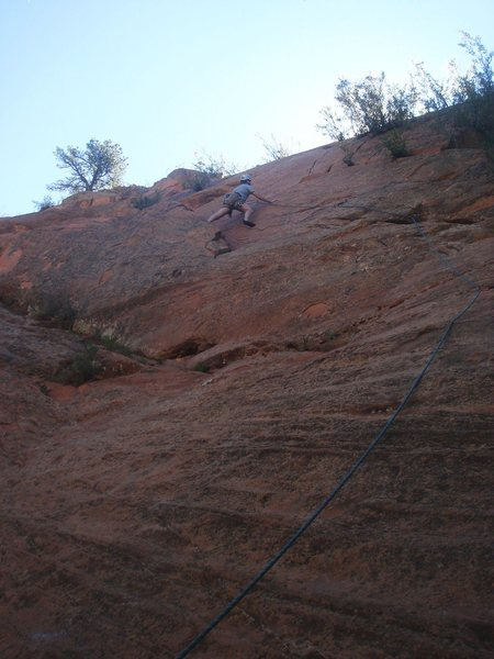 Tim starting the crux section.