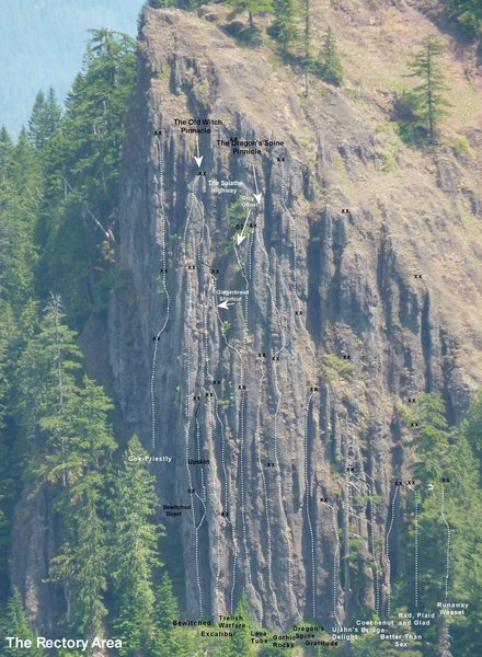 Rock Climbing Photo: Routes on main formation as of the end of the 2010...