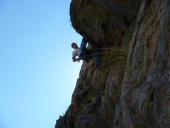 Rock Climbing Photo: Pulling over the overhang at the second bolt.
