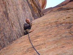 Rock Climbing Photo: James about to make the transition from narrow chi...