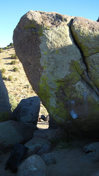 The Murray Highball climbs the portion of rock  without lichen. Access via the low start can made through the chalked cobble visible in the lower portion of the photo