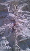 Rock Climbing Photo: Me top belaying and my son following. Whammy 5.10b
