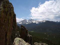 Rock Climbing Photo: Long's Peak from the Sharksfin at The Crags.  June...