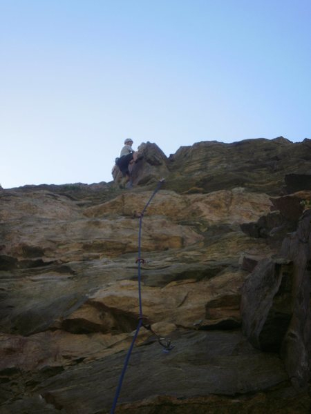 The fun moves on the arete near the top....
