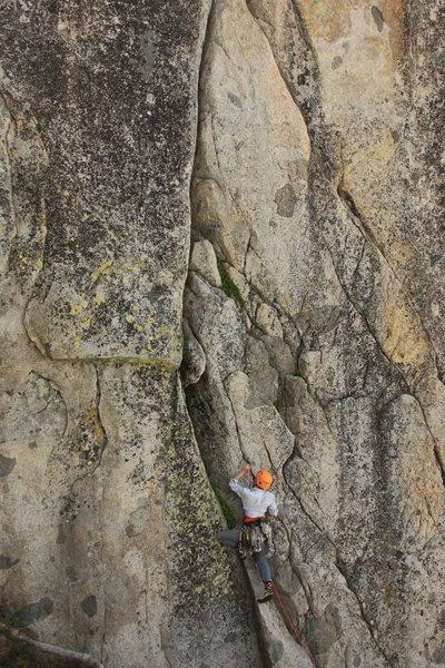 Rock Climbing Photo: Meg starting up Nova Express