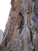 Rock Climbing Photo: The traverse left into Pitch 2 that combines &quot...