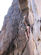 Rock Climbing Photo: Jeff pulling the 3rd pitch roof if you join the li...