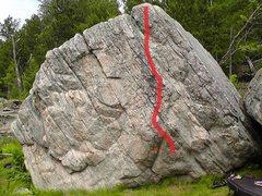 Rock Climbing Photo: Problem follows red line