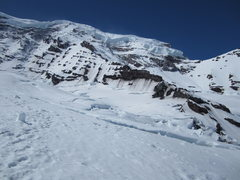 Rock Climbing Photo: 8000' on the Carbon Glacier, approaching the ridge...