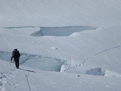 Rock Climbing Photo: Snow bridge.