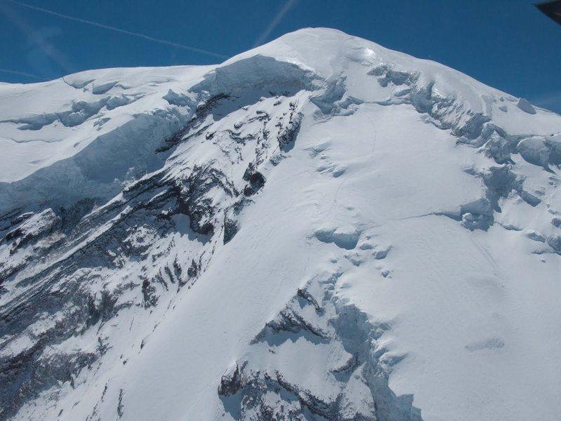 Rock Climbing Photo: Climbers near the bergschrund / top of the ridge.