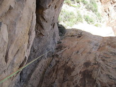 Rock Climbing Photo: Rapping off top of P2