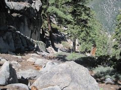 Rock Climbing Photo: Descend down this gully then to the left to get to...