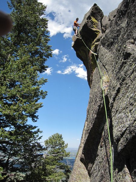 Rock Climbing Photo: Micah very happily out above the crux on the F.A. ...