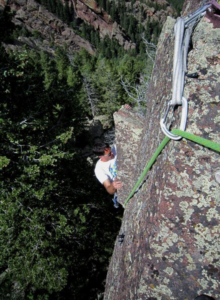 Rock Climbing Photo: Tony B reaches up and into the crux through the ro...