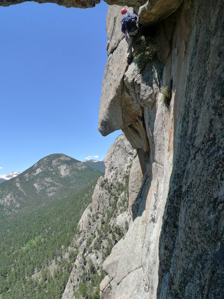 Doug Oatis took this shot, this is a great rest after the pumpy traverse and before the head wall above.