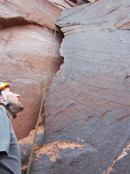 Rock Climbing Photo: Dustin contemplating the next section of flake (th...