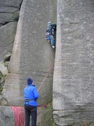 Rock Climbing Photo: The awkward start of Goliath's Groove (photo by Ph...