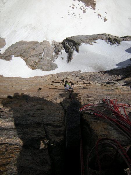 Rock Climbing Photo: Cisco following the crux thin hands and thin air p...