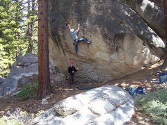 Rock Climbing Photo: Charles working the overhanging moves.
