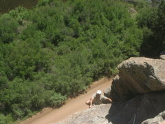 Rock Climbing Photo: Eric coming up to the cable anchor on the right si...