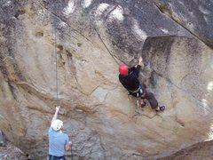Rock Climbing Photo: Josh gearing up for the BIG reach/swing.