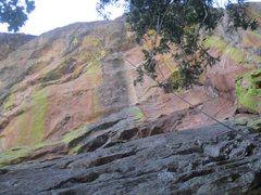 Rock Climbing Photo: Looking up Film Noir, the upper wall overhangs abo...