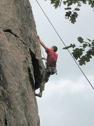 Rock Climbing Photo: Doc doing the Plumb Line crux statically.  Well at...