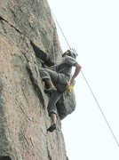 Rock Climbing Photo: Alex poised at the crux(?) of the upper part of Pl...