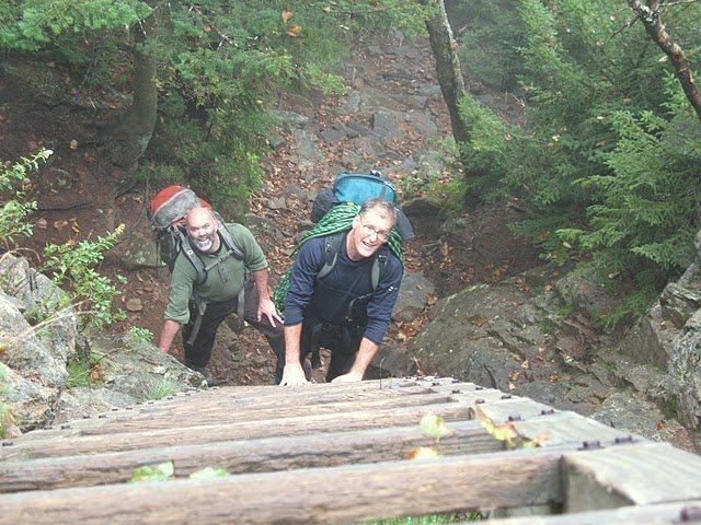 Jeff & Bruce having fun getting to the climbing at Crane Mountain.