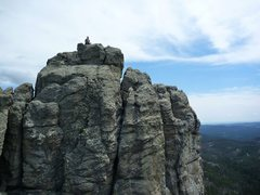 Rock Climbing Photo: AJ and Travis on top of the separate summits of Sp...
