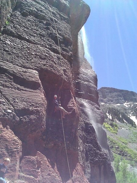 Rock Climbing Photo: Rapping the 1st pitch w/ small waterfall to climbe...