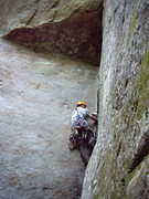 Rock Climbing Photo: Miles working through the dihedral.
