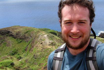 Hiking a ridge on Koko Crater in Hawaii.