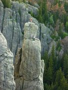 Rock Climbing Photo: Travis on the summit of Spire 1, AJ and Brian at t...