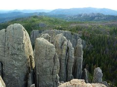 Rock Climbing Photo: Travis, AJ, and Brian on spire 1, with spires 2 an...