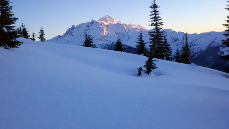 Alpenglow on Mt. Shuksan during 2010 winter climb