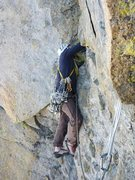 Rock Climbing Photo: protecting steep section before exit chimney on pi...