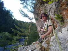Rock Climbing Photo: End of P2, with the really old Wandbuch.