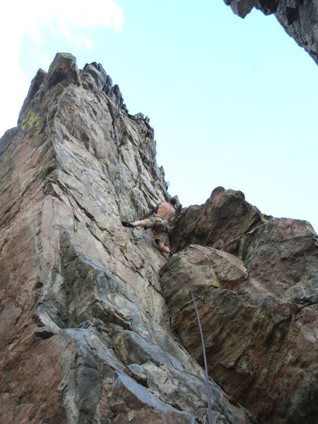 Rock Climbing Photo: Mike Keegan nearing the crux on Hip Op.