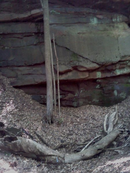 This is a shot of the base section of the wall. If you look at the bottom of the photo, you can see a beat up shopping cart, it gives the wall some scale. This piece of rock is pretty large...
