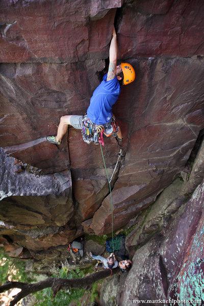 Rock Climbing Photo: Ryan Strong digs deep in the lower handcrack. Summ...