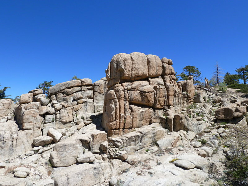 Shirtsleeve Rock from the top of the Hungover Wall, Keller Peak <br>