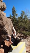 Rock Climbing Photo: Snagging the heel hook is key.