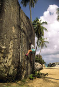 Rock Climbing Photo: A particularly hard problem at the Baths