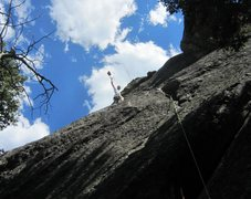 Rock Climbing Photo: Tony cleaning on the F.A. lead of 'Surprisingly Go...